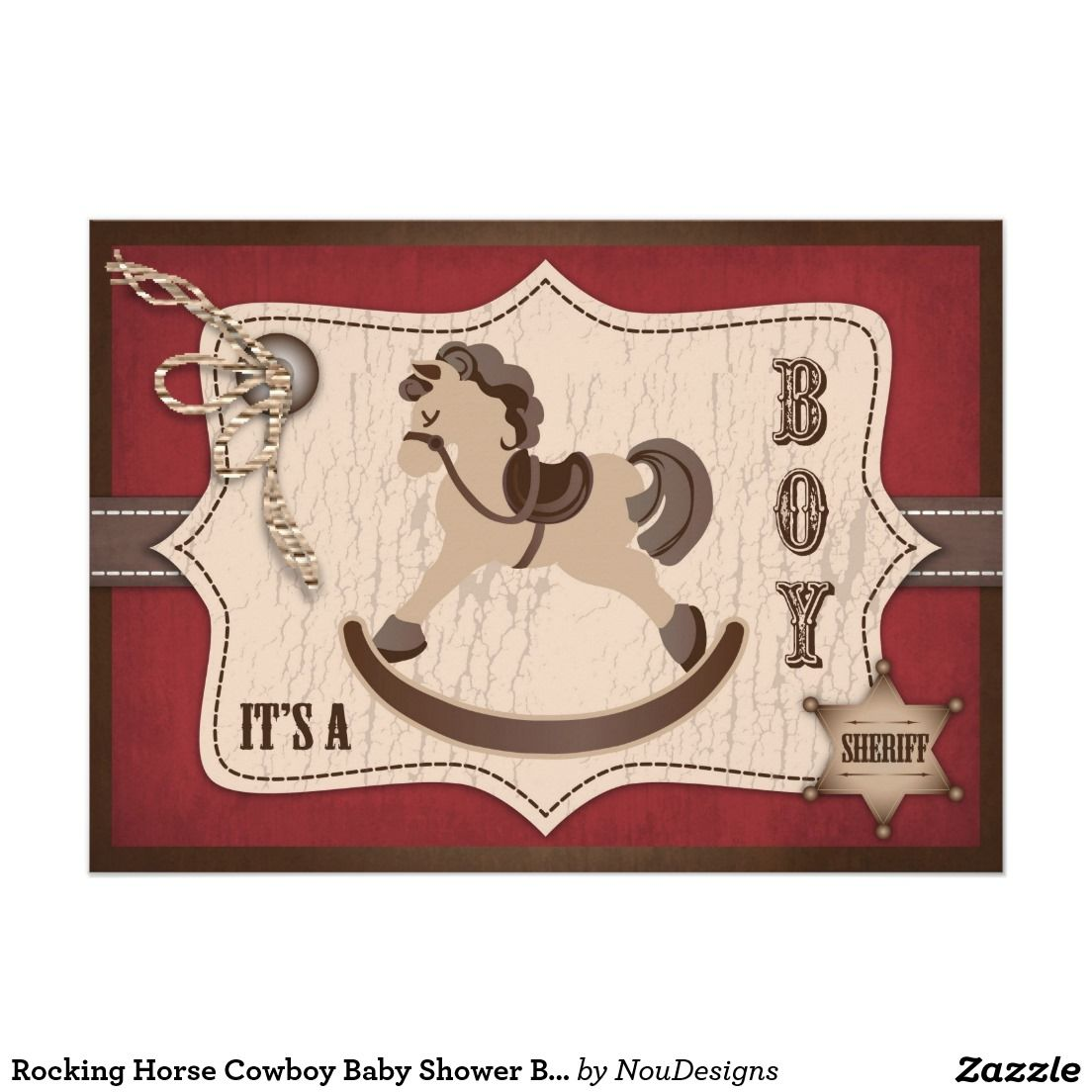Rocking Horse Cowboy Baby Shower Barn Red 5x7 Paper Invitation Card