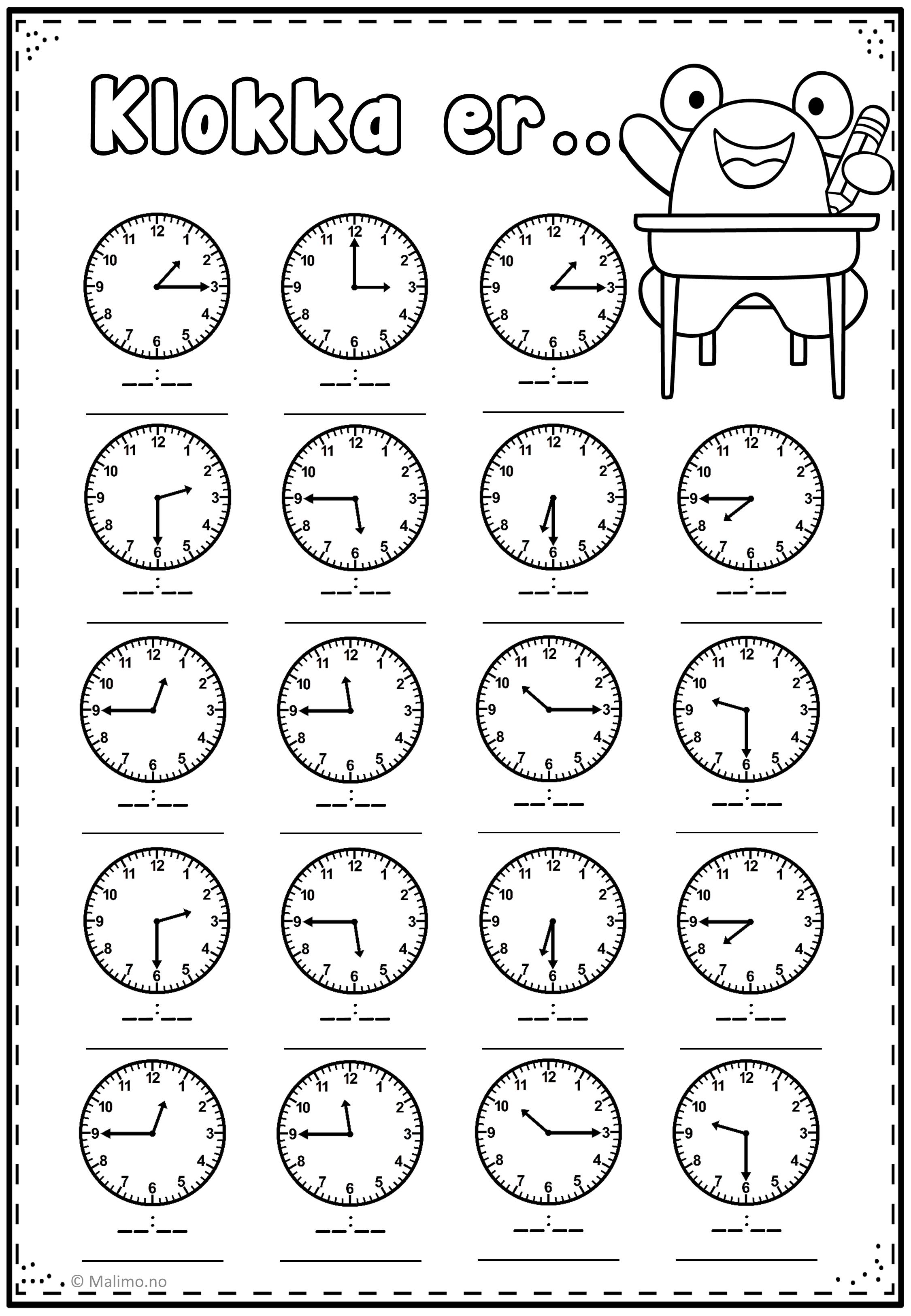 Malimo No Gratis Ressursbibliotek Til Sma Og Mellomtrinnet Spesialundervisning Arbeidsark Klokke [ 3250 x 2250 Pixel ]
