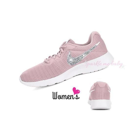 cecd1d2fe520 Nike Tanjun Women s in Pale Pink ~ Bedazzled Nike ~ Blinged Nikes ~  Rhinestone Nike - Swarovski Nike