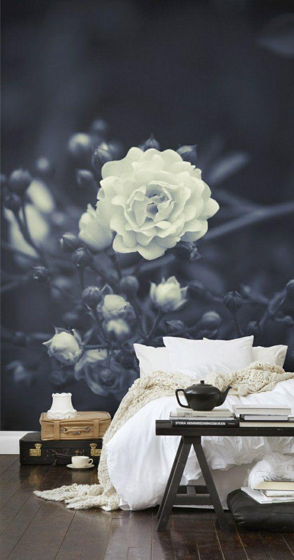 wandgestaltung ideen mustertapeten rose schwarz weiß Wohnzimmer