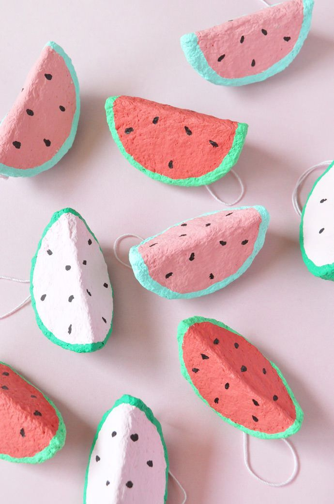 Paper Mache Watermelon Charms | Sweet, Paper and Pools