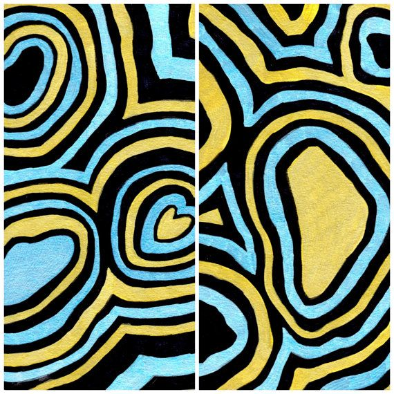 Digital Copy of Hand Drawn Blue & Gold by LMTDInteriorConsults, $2.00