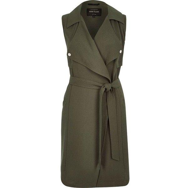 Womens Cotton Blend Vest Belt Trench Sleeveless Coat Jacket Dress Outwear Basic