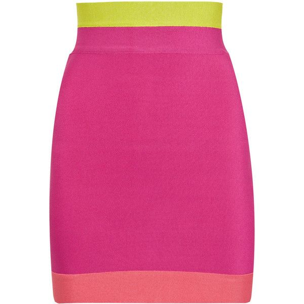 Color-block high-waisted mini skirt ($360) ❤ liked on Polyvore featuring skirts, mini skirts, bottoms, saias, gonne, herve leger skirt, short skirts, panel skirt, high waisted skirts and bandage skirt