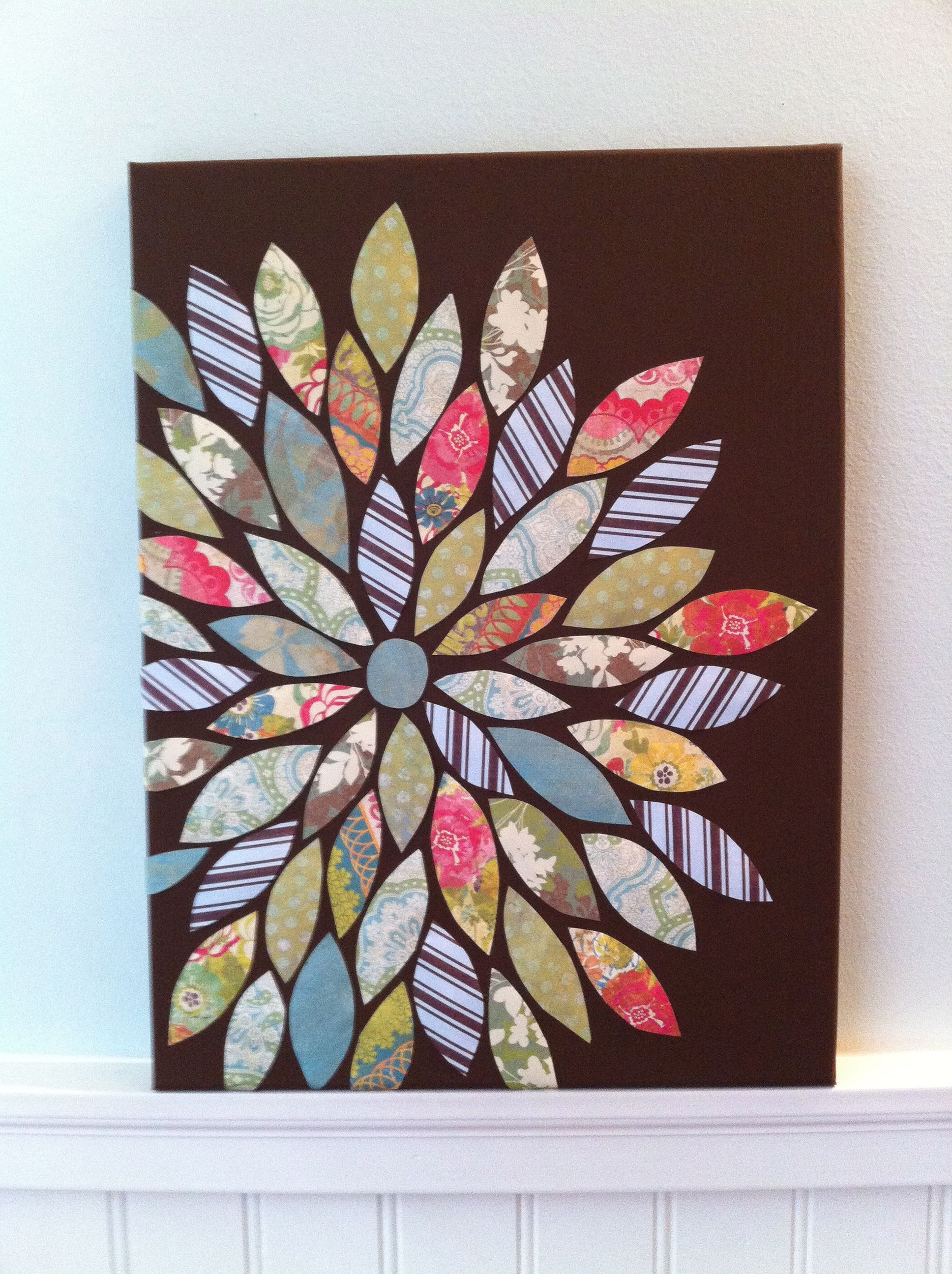 Painted canvas with scrapbook paper leaves! Canvas
