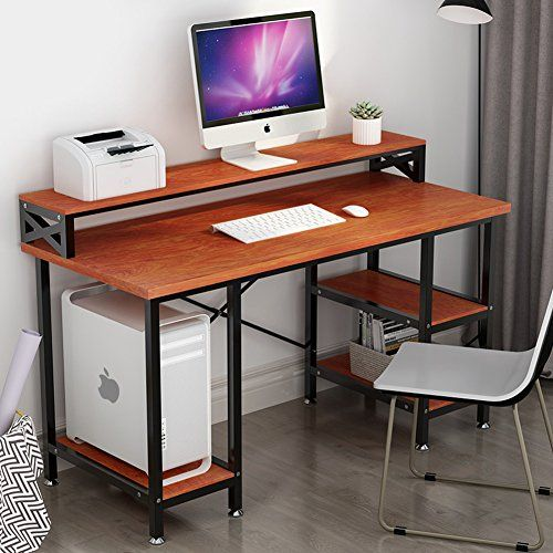 Tribesigns Computer Desk With Storage Shelves 55 Large Modern Office Desk Computer Table Studying Writing Desk Workstation With Printer Monitor Shelf For Home Modern Office Desk Computer Table Printer Shelf