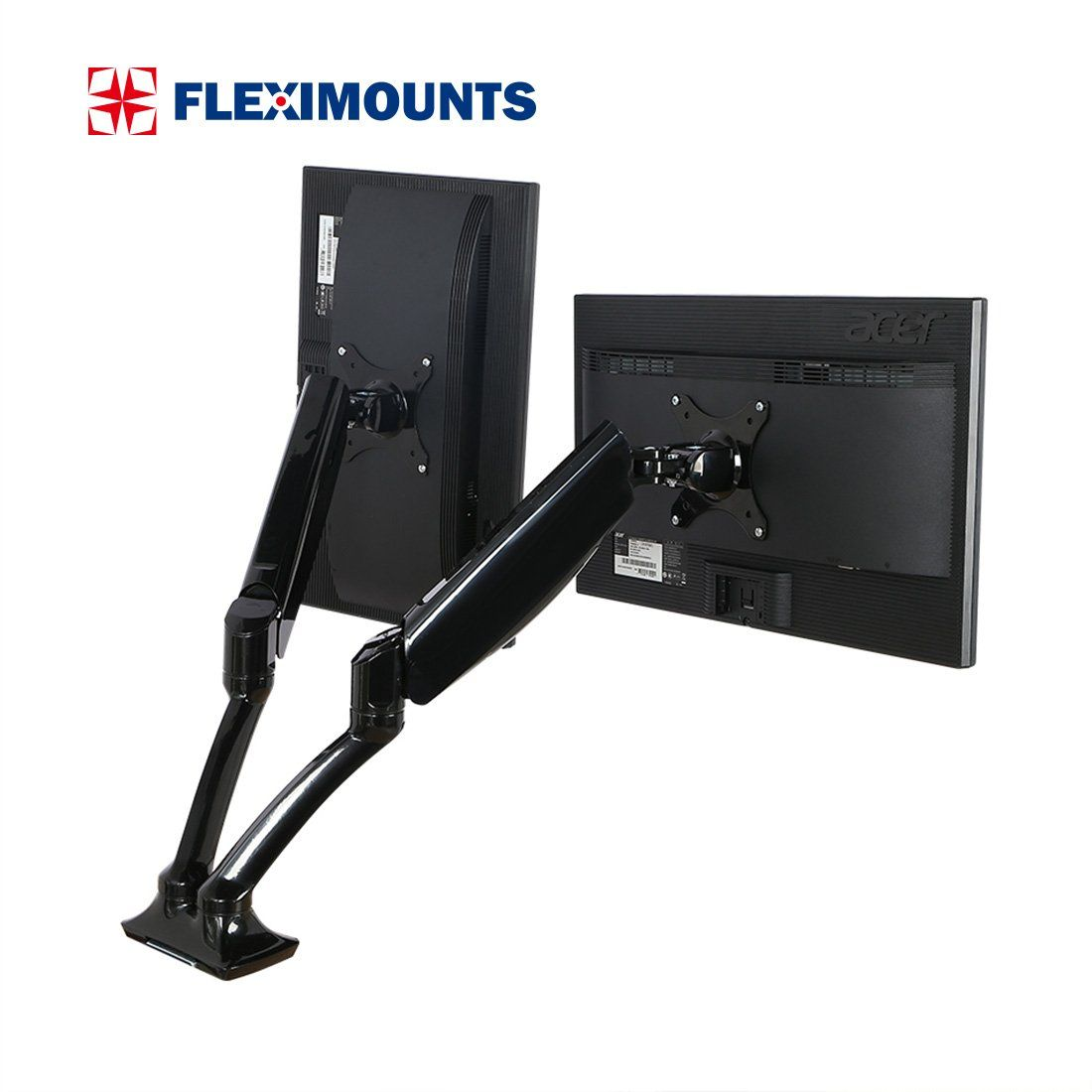 Fleximounts Dual Monitor Mount Lcd Arm Full Motion Desk Mounts For