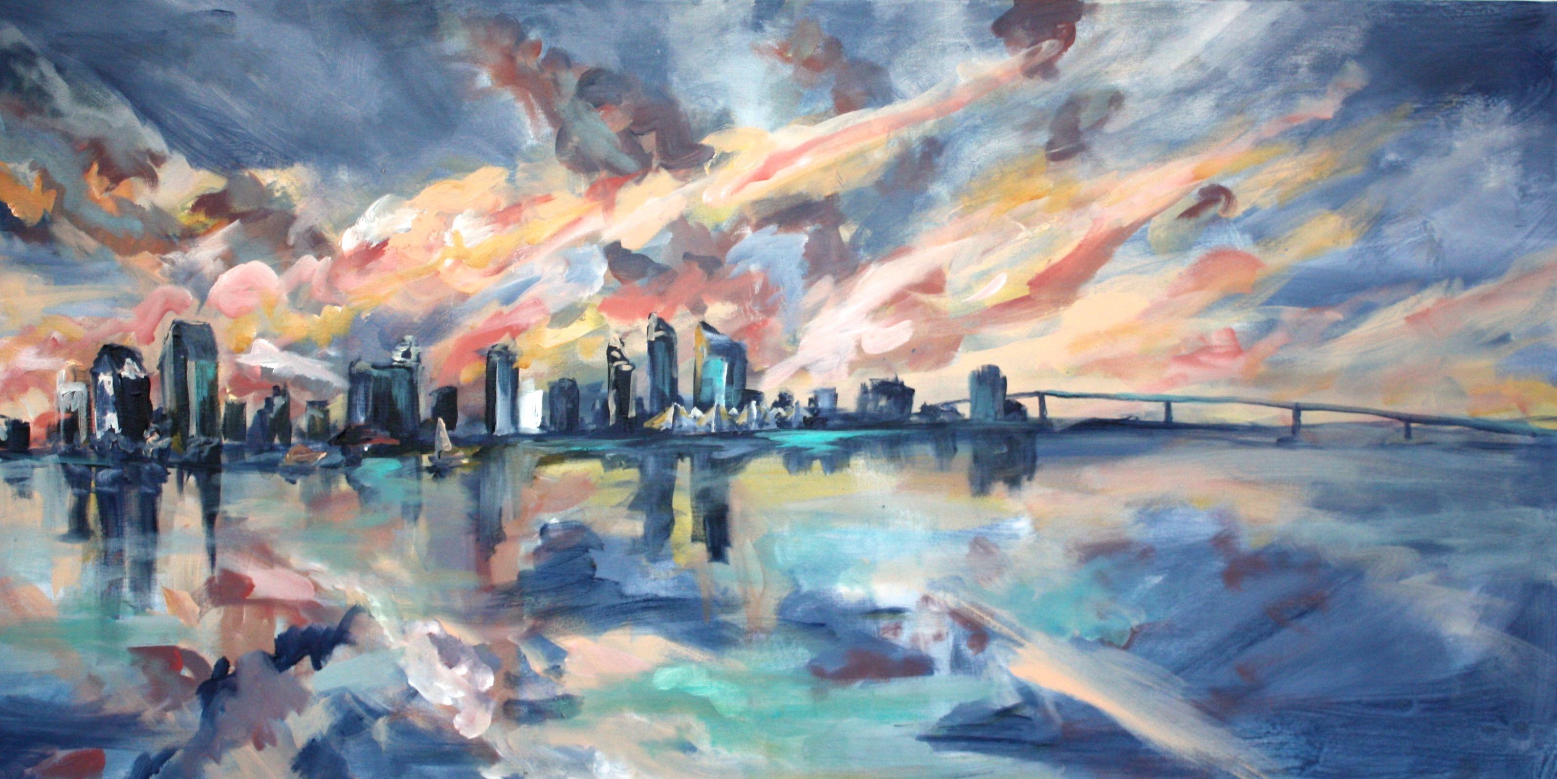 San Diego Skyline 2x4ft Acrylic On Canvas Jennie Lou Art Skyline Painting San Diego Skyline Painting