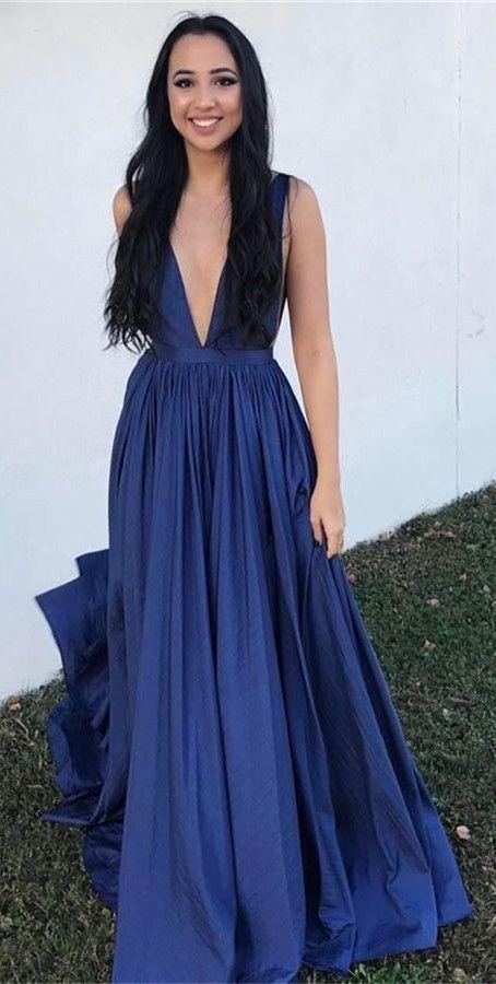 c0bea1e6fe 2018 navy blue long prom dress, deep v neck navy blue long graduation dress  evening