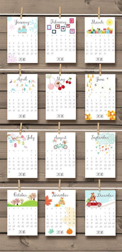 Idee Calendario.Printable 2016 Calendar Doodle Wall Calendar By
