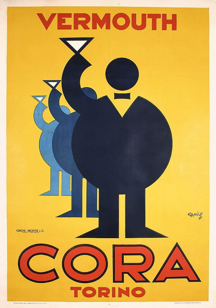 30s poster design - Original 1930s Vermouth Cora Art Deco Italian Poster Part Of Our November 3 2013