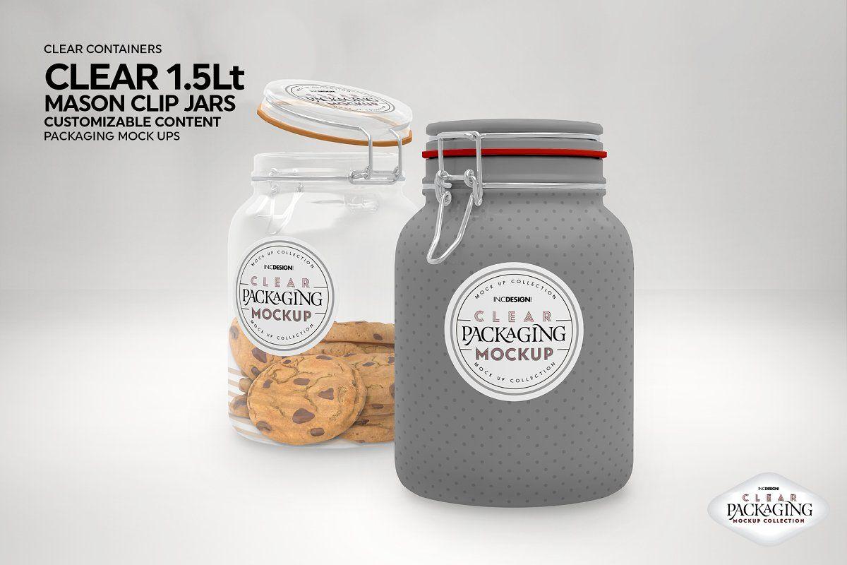 Clear Mason 1 5liter Clip Jar Mockup Packaging Mockup Food Mockup Clear Container