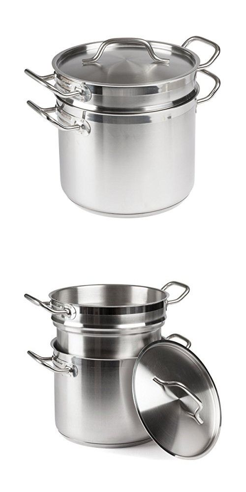 FortheChef 8 Qt. Stainless Steel Induction-Ready Double Boiler with ...
