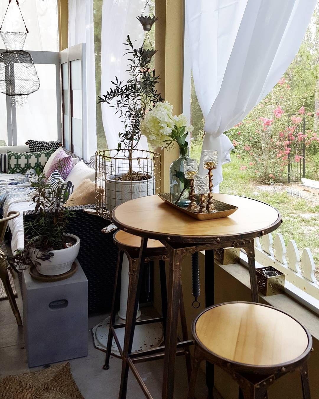 Outdoor Patio Seating IdeasSummer Porch Industrial Farmhouse Table And Stools