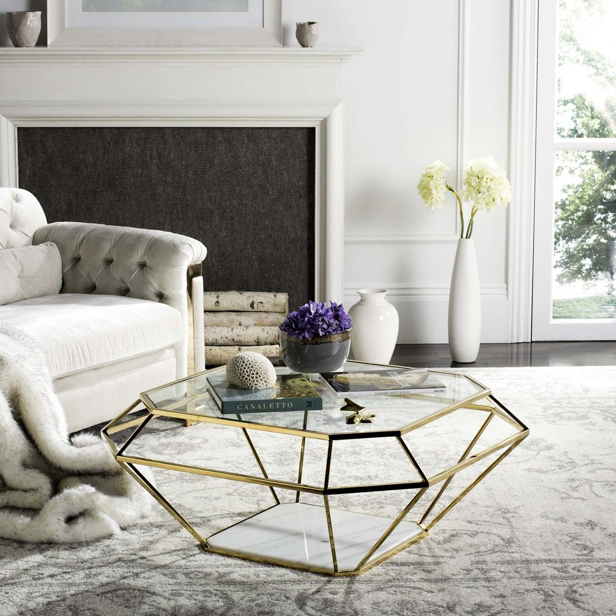 Contemporary Geometric Marble Metal Coffee Table Furniture Table Cool Coffee Tables