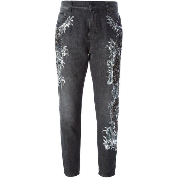 Amen Sequin Embellished Jeans ($389) ❤ liked on Polyvore featuring jeans, black and sequin jeans