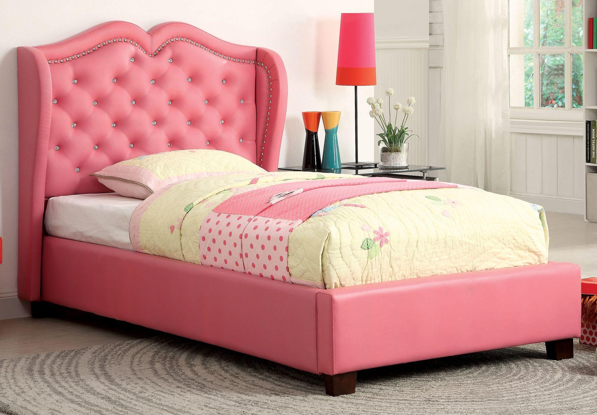 Hokku Designs Vanitas Panel Bed Leather Upholstered Bed Upholstered Beds Nailhead Trim Bed