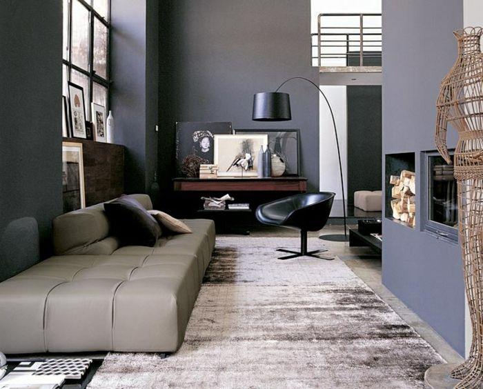 wohnzimmer grau graue wände heller teppich cooler sessel Farben - wohnzimmer creme rot