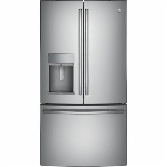Ge Profile Series 22 2 Cu Ft French Door Counter Depth Refrigerator Stainless Steel Front Zoom French Door Refrigerator French Doors