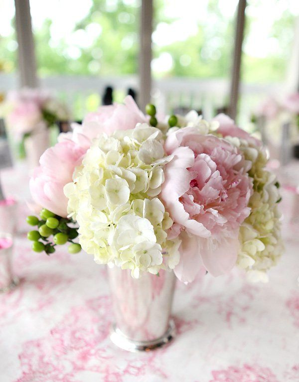 Romantic fresh cameo bridal shower flowers arranged