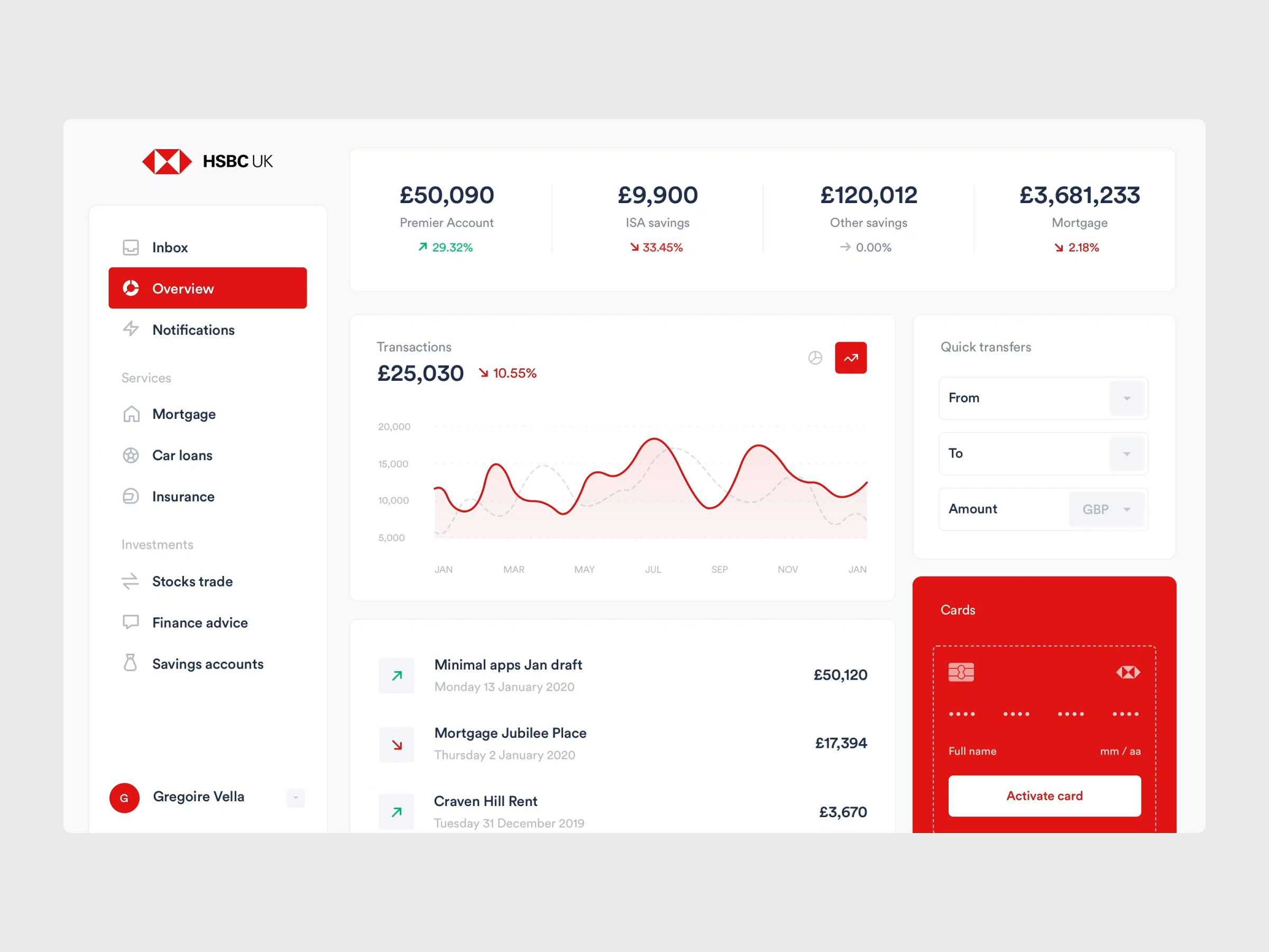 HSBC concept - Balance screen by minimal apps