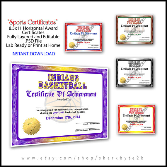 In  Sports Award Certificate Achievement Photoshop Template