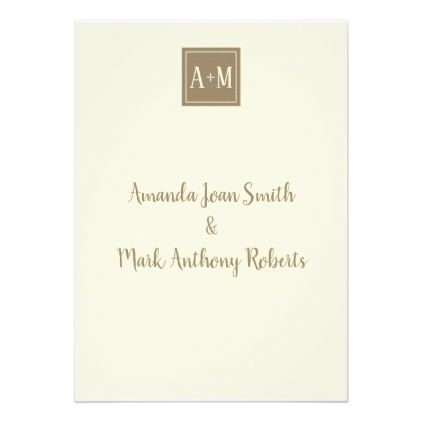 2 Tan and Ivory Initial Wedding Invitation invitations personalize