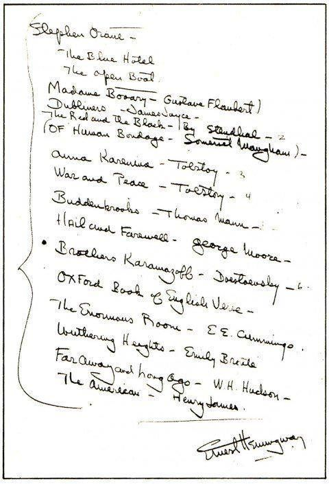 Ernest Hemingway Creates a Reading List for a Young Writer