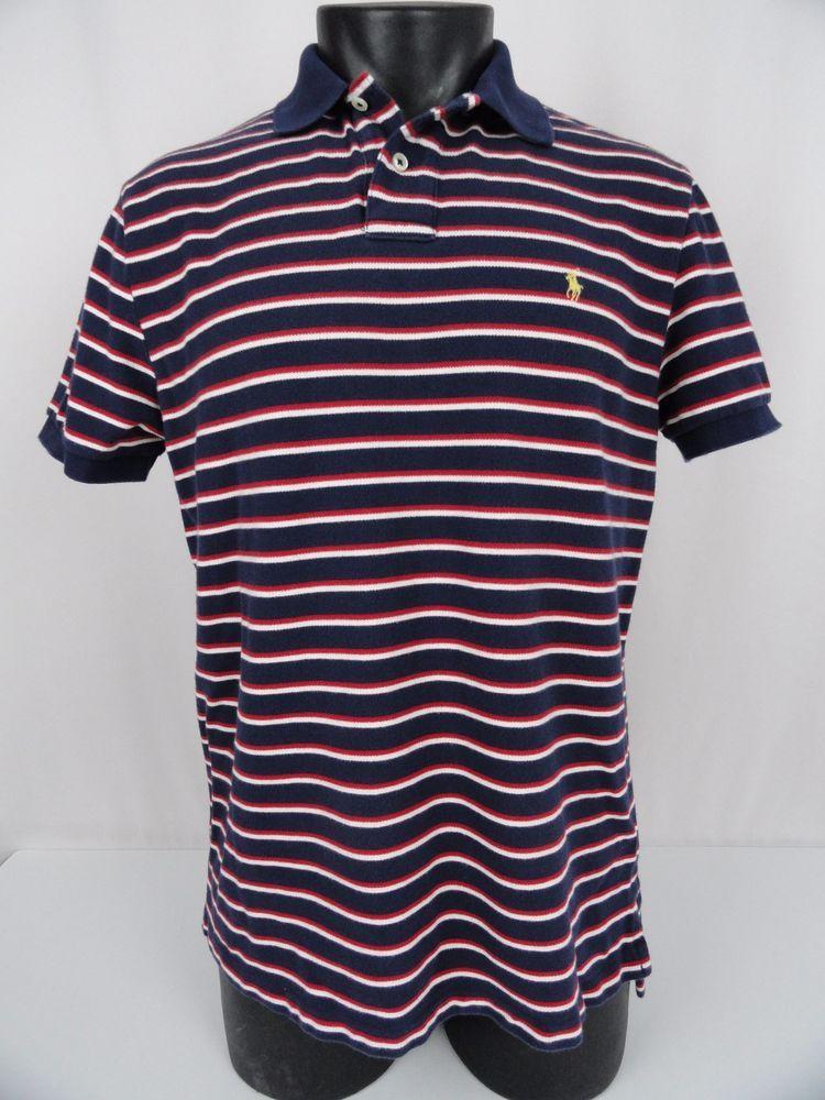 Polo Ralph Lauren Custom Fit Polo Shirt Men s L Red White Blue Striped Mesh  SS 62616491caa99