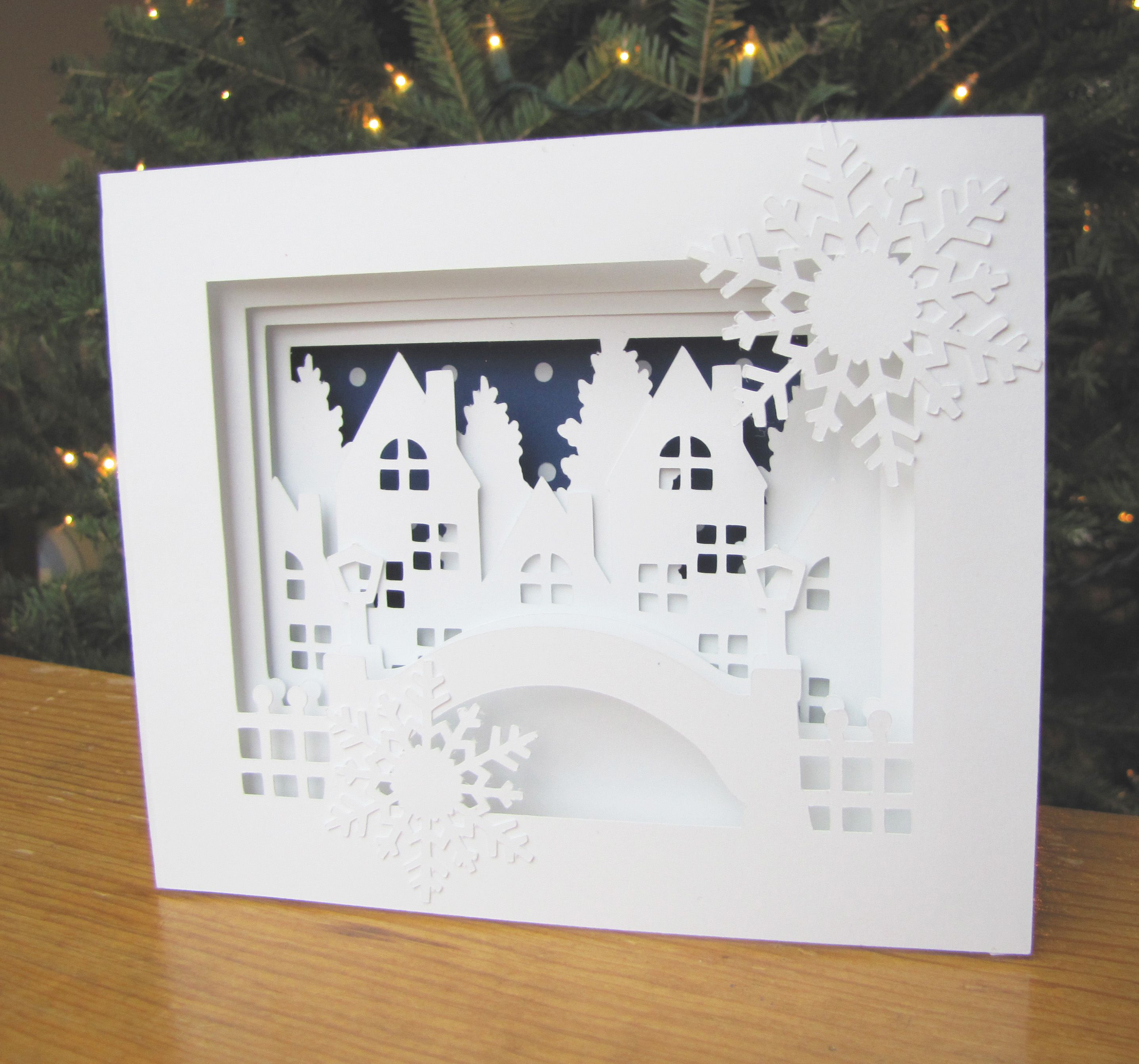 Introducing the 5×7 Winter City Shadow Box Card just a beautiful scene