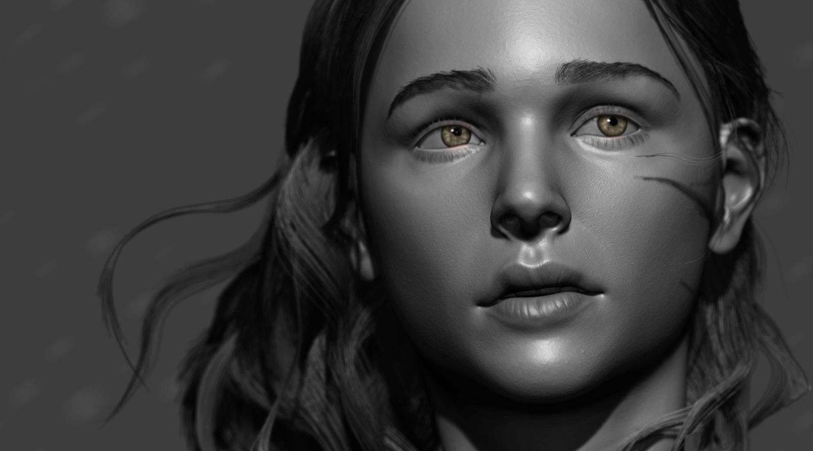 Chloë Grace Moretz - likeness, Lun Leo on ArtStation at https://www.artstation.com/artwork/5EvLP