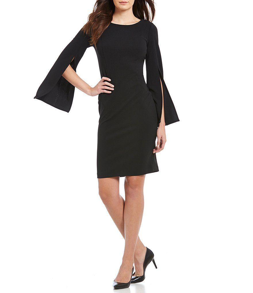 37be454f3d Calvin Klein Split Bell-Sleeve Sheath Dress