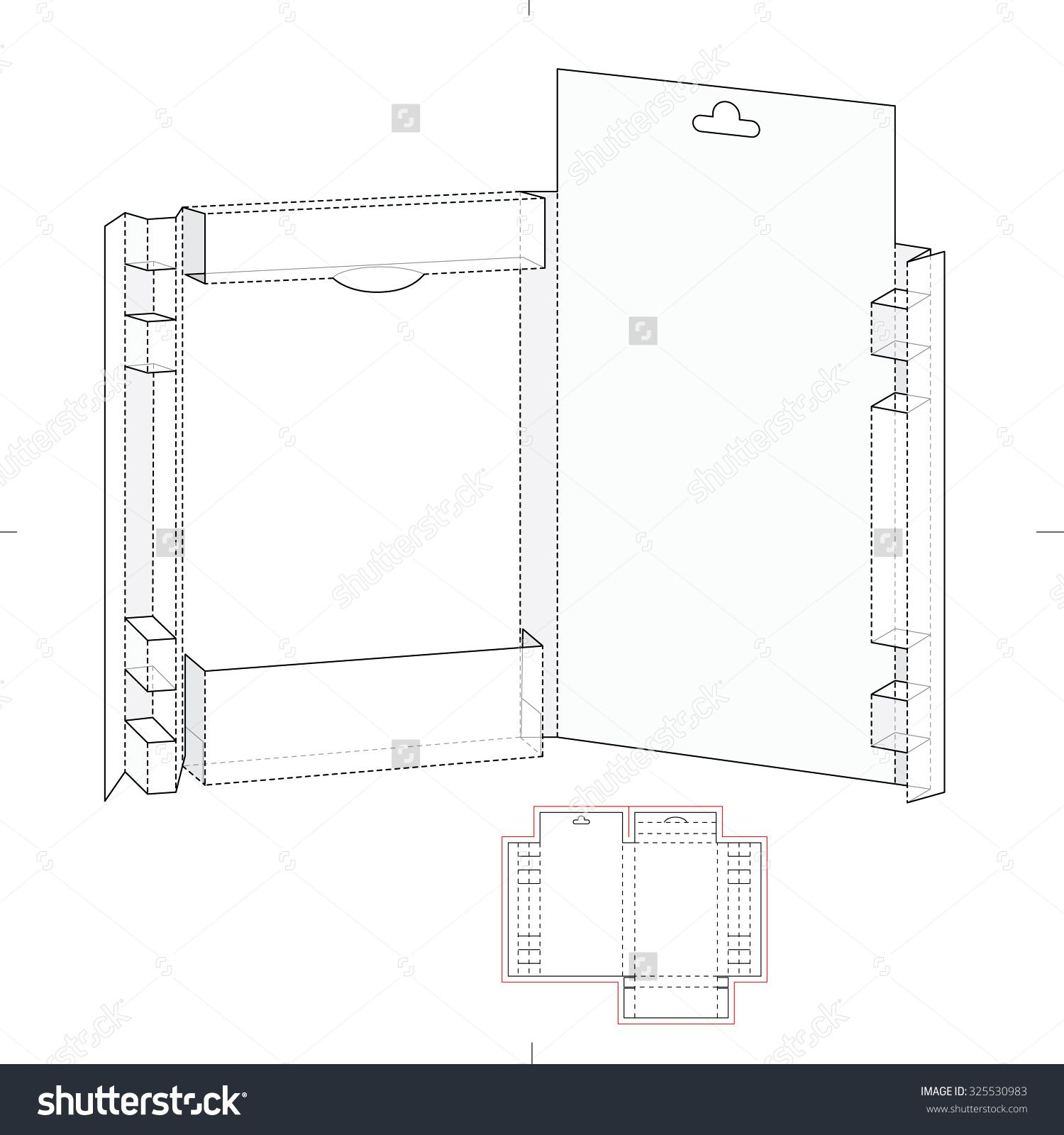 Drawing Kit Folder With Die Line Template Stock Vector Illustration 325530983 : Shutterstock