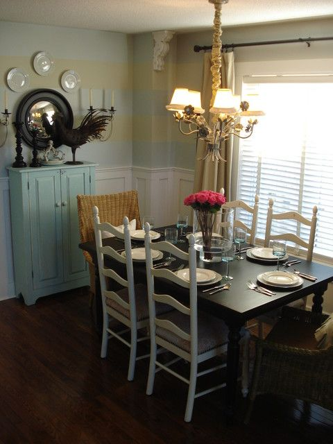 Casual Dining Room With Vintage Charm By C K Interiors Found On Houzz Com Casual Dining Rooms French Country Dining Room Eclectic Dining Room