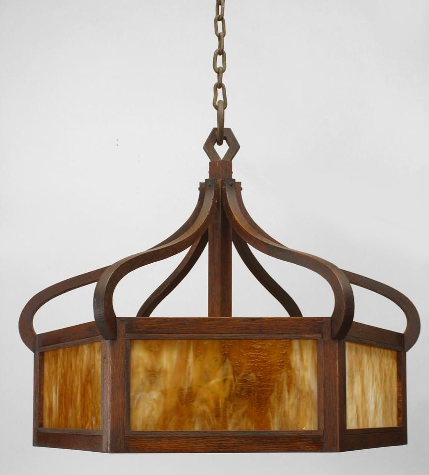 American Mission 6 Sided Chandelier With Stained Oak Framed Caramel Slag Gl Panels Supported By A Canopy Curved Design Supports