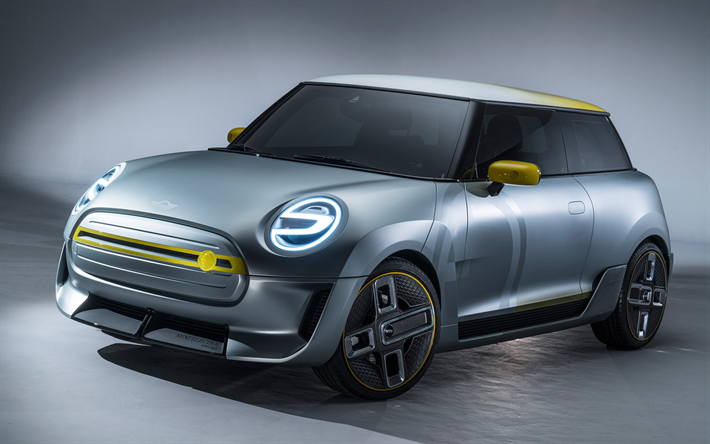 Download Wallpapers Mini Cooper Electric Concept 2017 Cars Compact