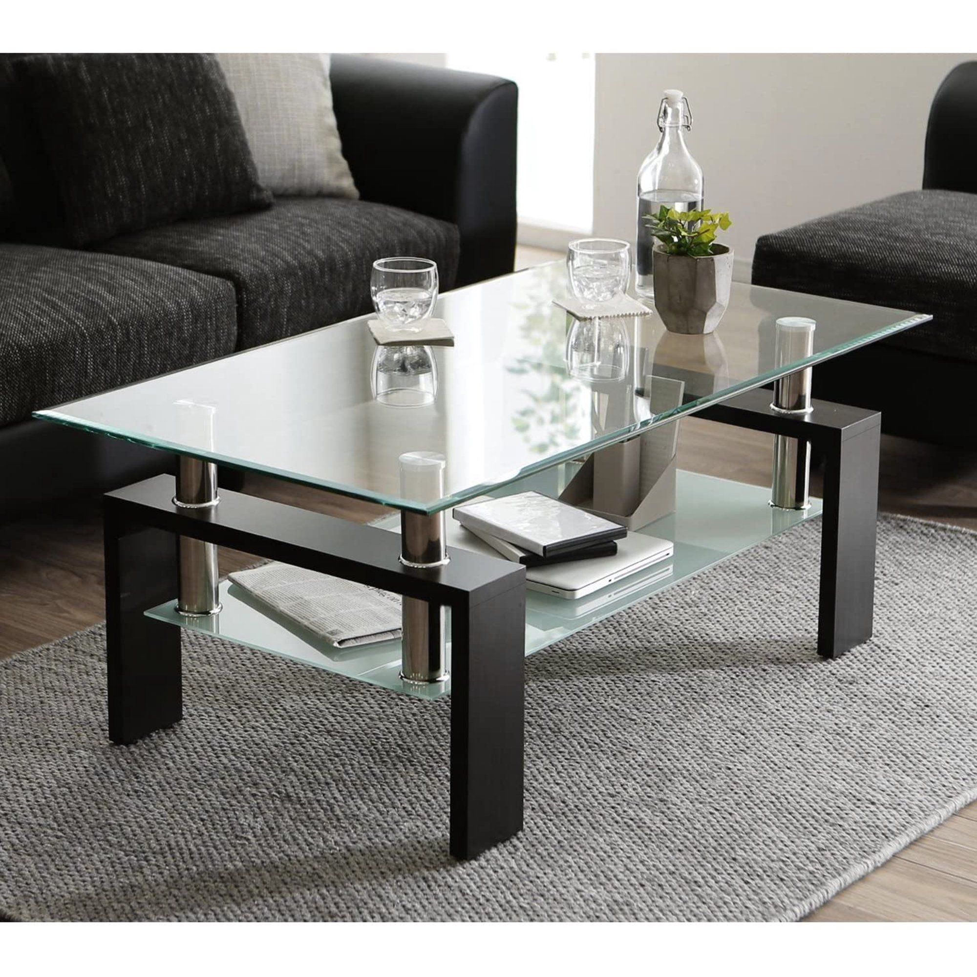 Glass Coffee Table With Lower Shelf Clear Rectangle Glass Coffee Table Modern Coffee Table With In 2021 Center Table Living Room Coffee Table Coffee Table Rectangle [ 2000 x 2000 Pixel ]