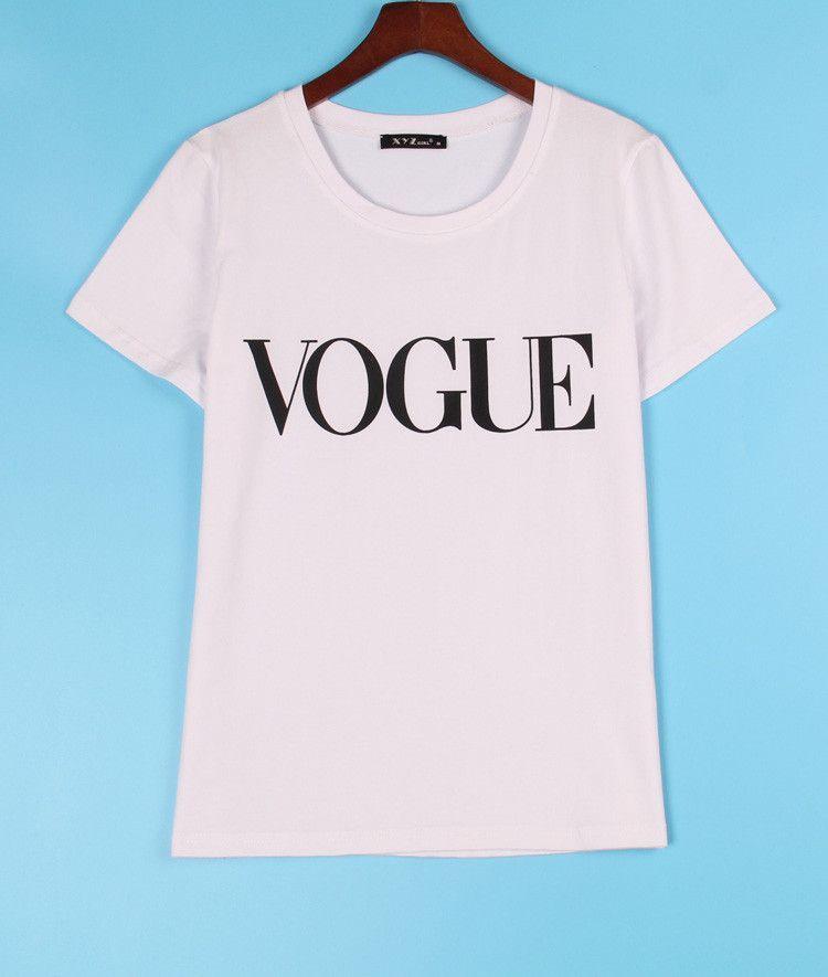 2016 Fashion Brand T Shirt Women VOGUE Printed Printed T-shirt Women Tops Tee Shirt Femme New Arrivals Hot Sale Casual Sakura
