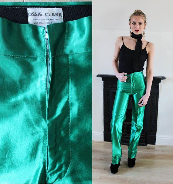 70's OSSIE CLARK Original Emerald Satin Glam Rock by DustyandDylan