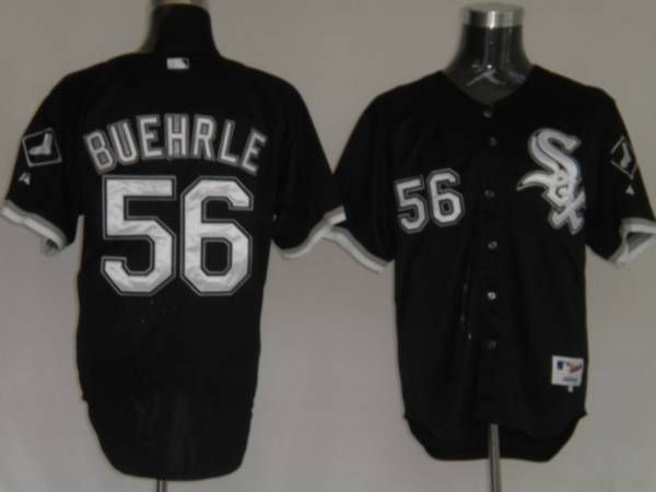 white sox 56 mark buehrle embroidered black mlb jersey21.50usd