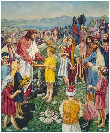 Jesus feeds 5 000 from 5 loaves of bread and 2 fish for Loaves and fishes bible story
