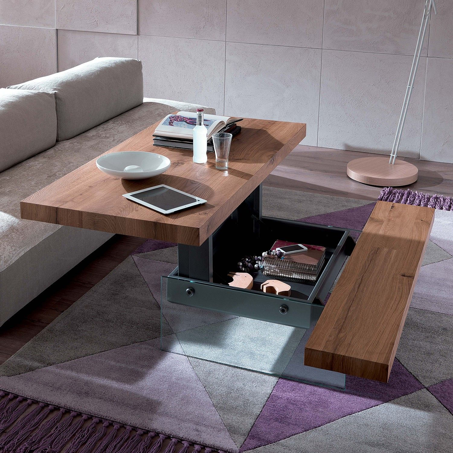 Markus transformable coffee table by ozzio italia with seating and storage compartment included