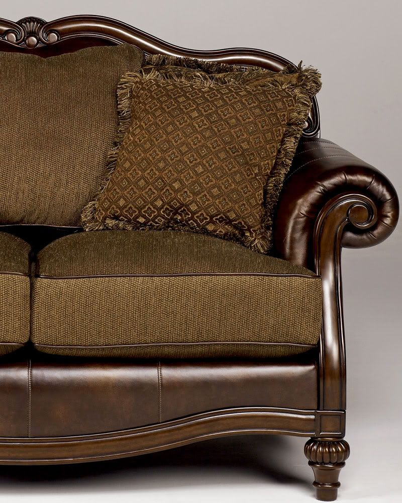 Ashby wood trim chenille faux leather sofa couch set