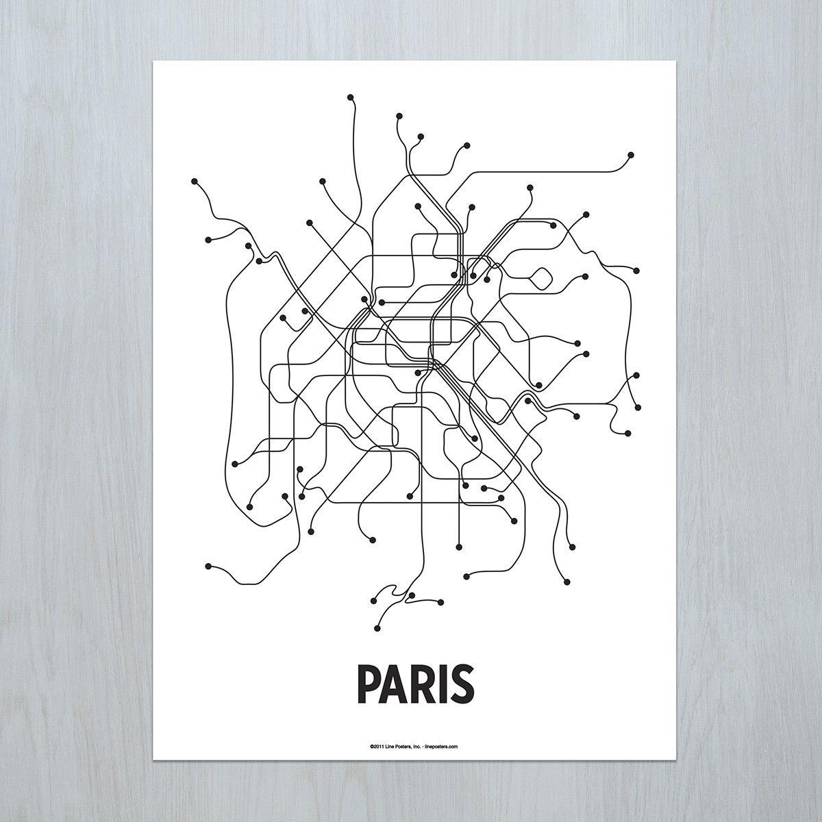 A modern graphic interpretation of the Paris transit system ...