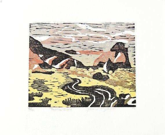 Paradise Island Woodblock Print $10