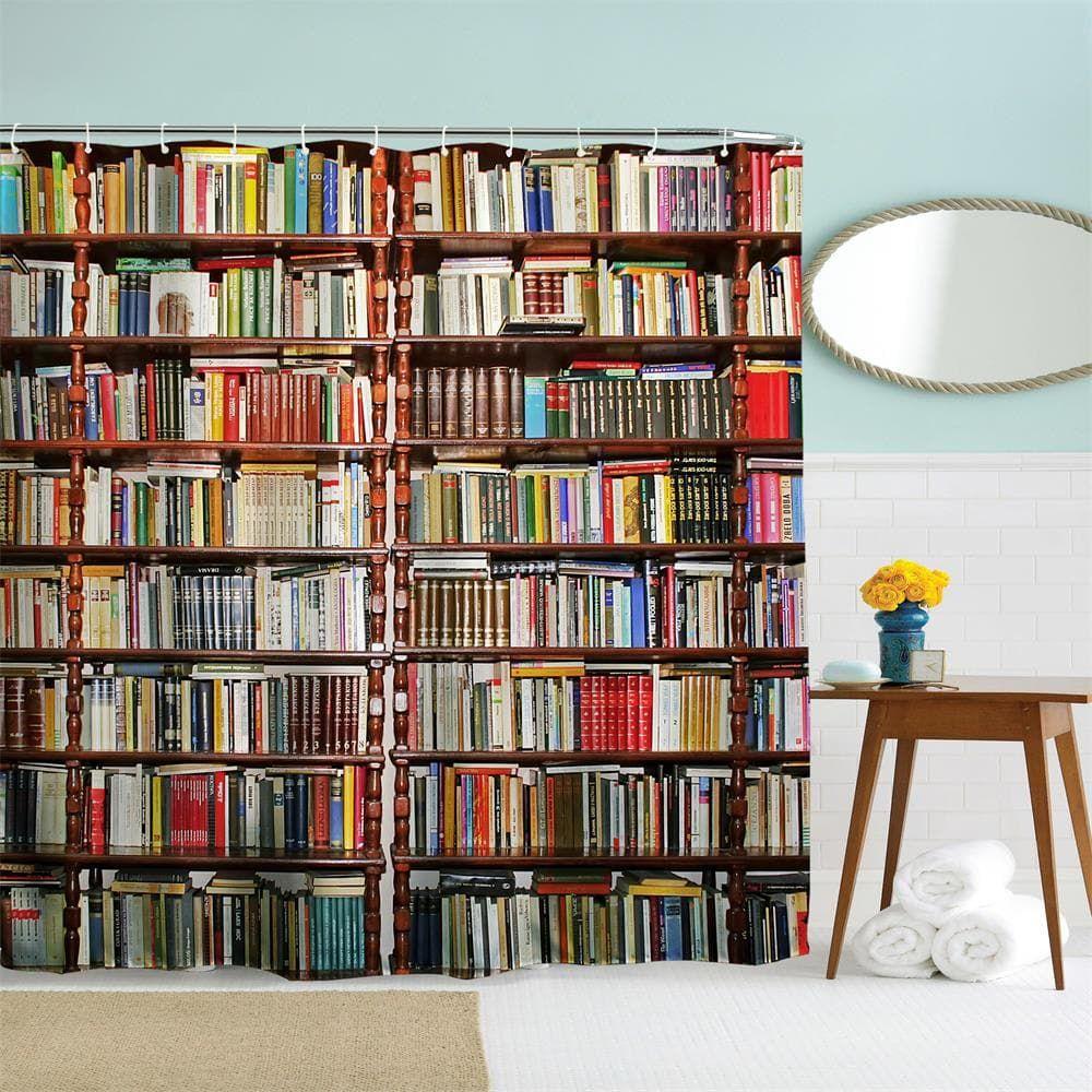 Bookcase Polyester Shower Curtain Bathroom Curtain High Definition