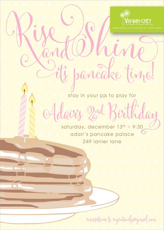 Pancakes & Pajamas | Birthday Party Invitation by VivVahChey on Etsy ...