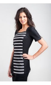 Stripe beauty tunic in black and white linen look beauty uniform fabric.  This beauty tunic has a monochrome design with silhouette panels for flattering fit for salon wear.