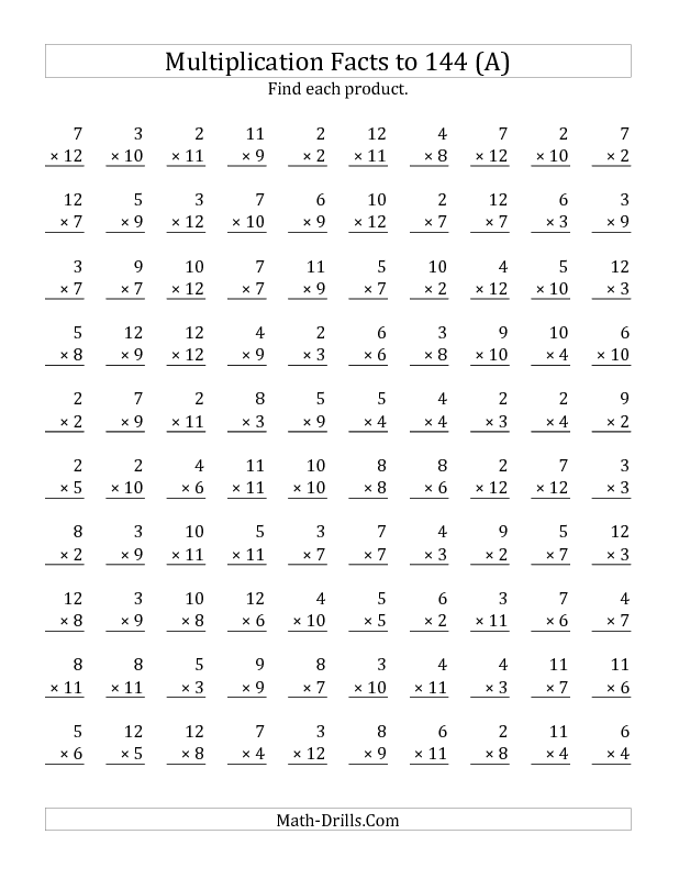 New 2013-03-27! Multiplication Facts to 144 No Zeros No Ones (A ...