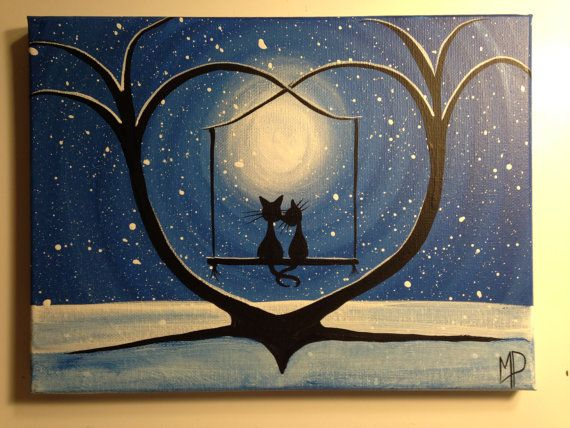 Original Whimsical Cat Painting What Can I See By Michael